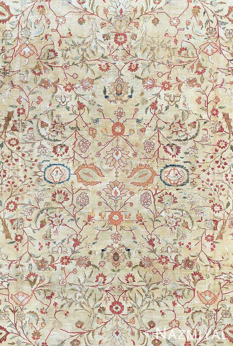 Close Up Antique Persian Tabriz Rug 90027 by Nazmiyal NYC