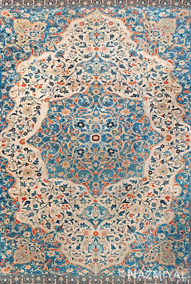 Light Blue Antique Room Size Persian Medallion Tabriz Area Rug #90025 by Nazmiyal Antique Rugs