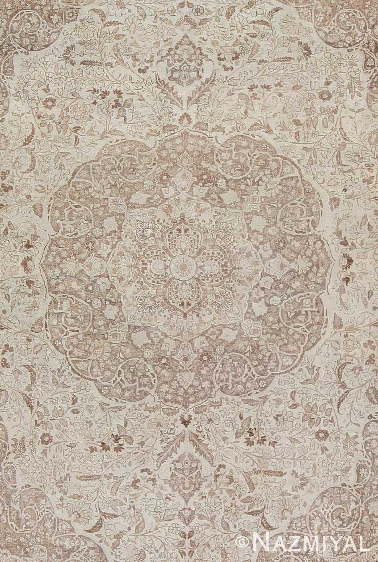 Close Up Large Oversized Ivory Background Persian Tabriz Carpet 47259 by Nazmiyal NYC