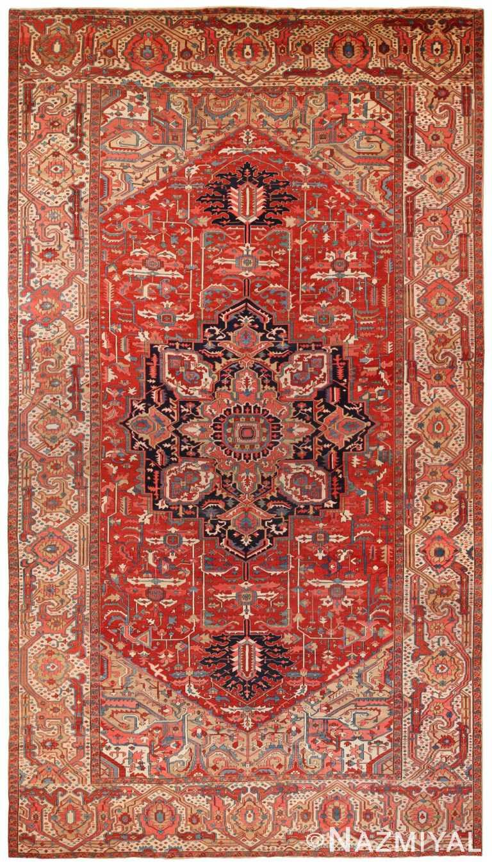 Oversized Antique Persian Heriz Serapi Rug 70433 by Nazmiyal NYC