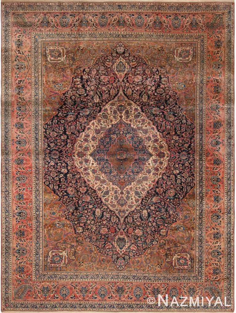 Floral Antique Persian Mohtasham Kashan Rug 70521 by Nazmiyal NYC