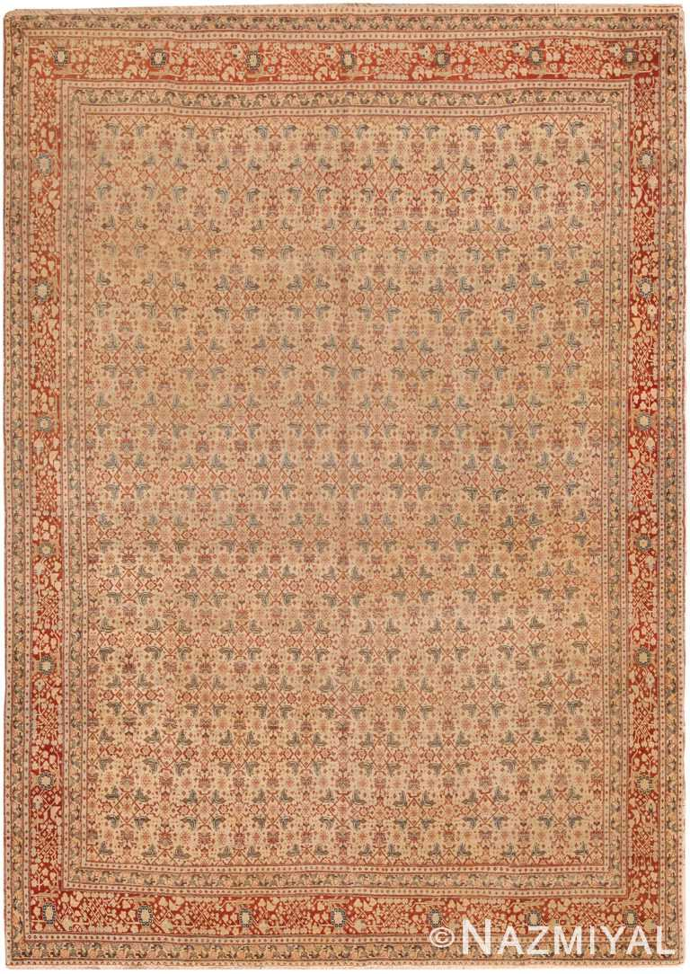 Fine Ivory Persian Antique Tabriz Room Size Herati Rug #70415 by Nazmiyal Antique Rugs