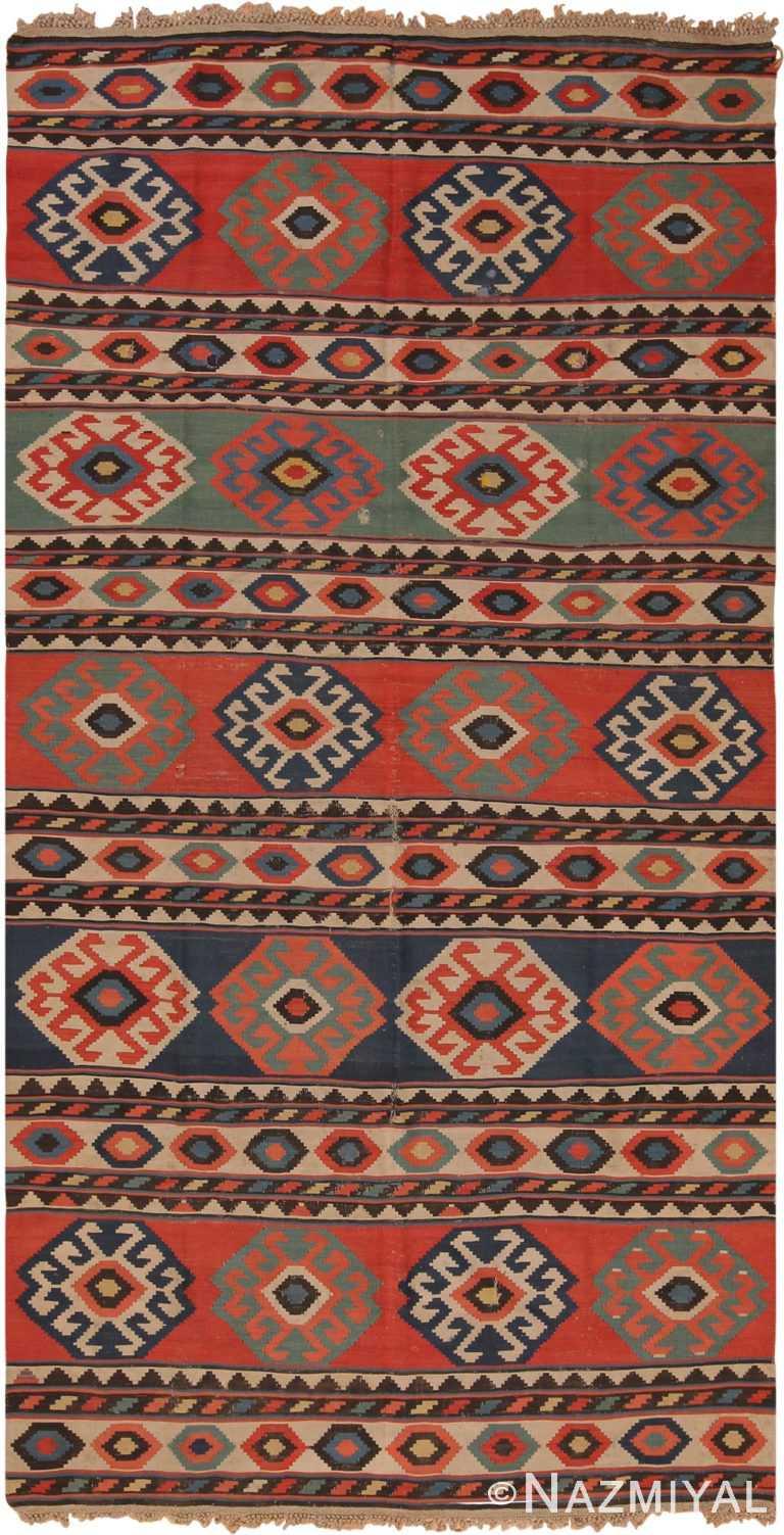 Antique Tribal Caucasian Kuba Kilim Rug 70412 by Nazmiyal NYC