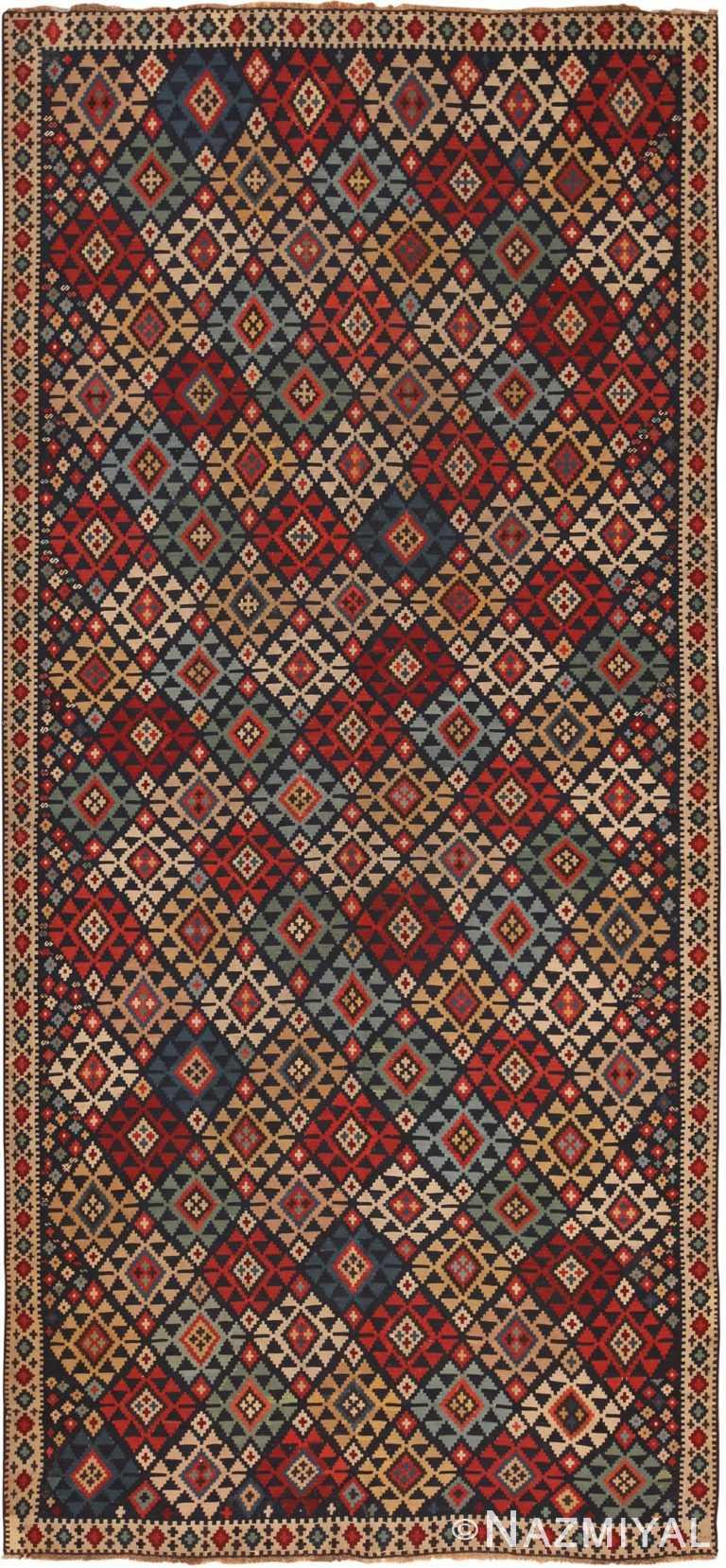 Antique Tribal Caucasian Shirvan Kilim Rug 70418 by Nazmiyal NYC