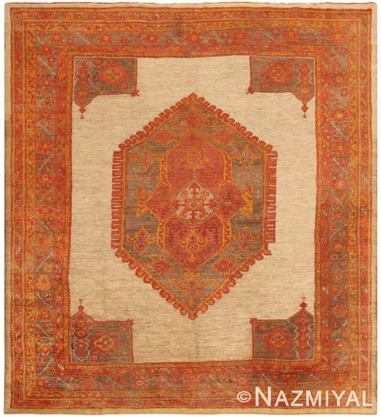 Geometric Antique Turkish Oushak Angora Rug 70516 by Nazmiyal NYC