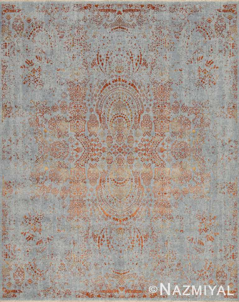 Blue Copper Beach House Rug 93110351 by Nazmiyal NYC