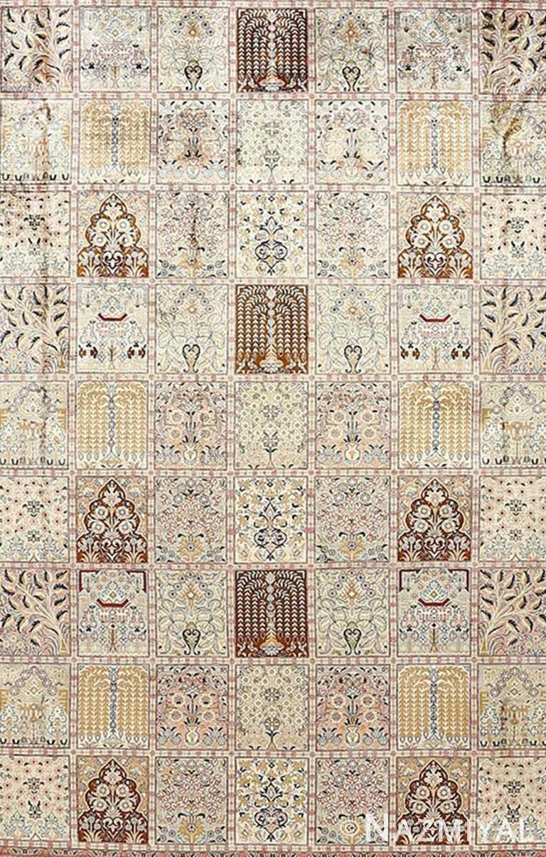 Fine Square Garden Design Silk Qum Persian Rug 51084 by Nazmiyal NYC