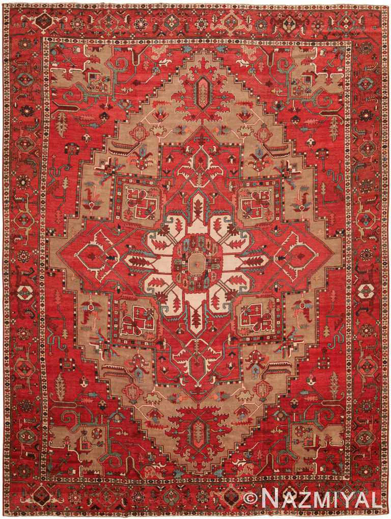 Large Geometric Antique Persian Serapi Rug 70522 by Nazmiyal NYC