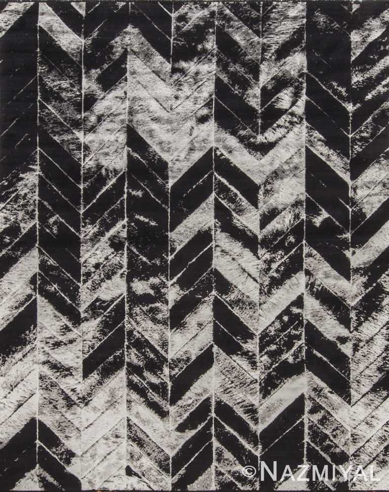 Geometric Arrows Black And White Rug 95210724 by Nazmiyal NYC