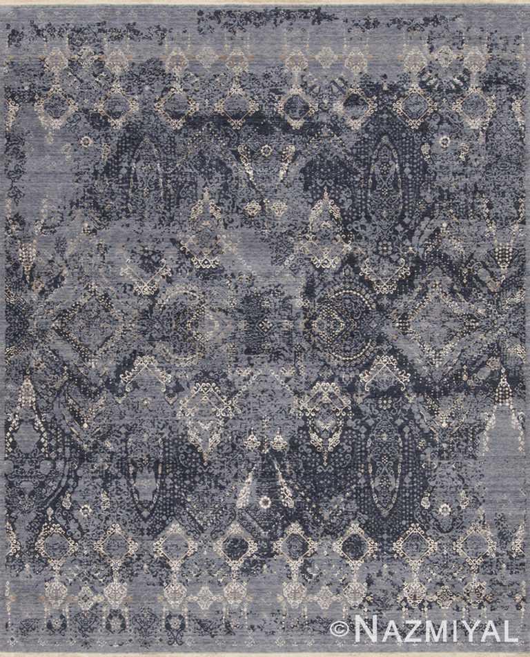 Geometric Blue Grey Los Angeles Rug 92091505 by Nazmiyal NYC