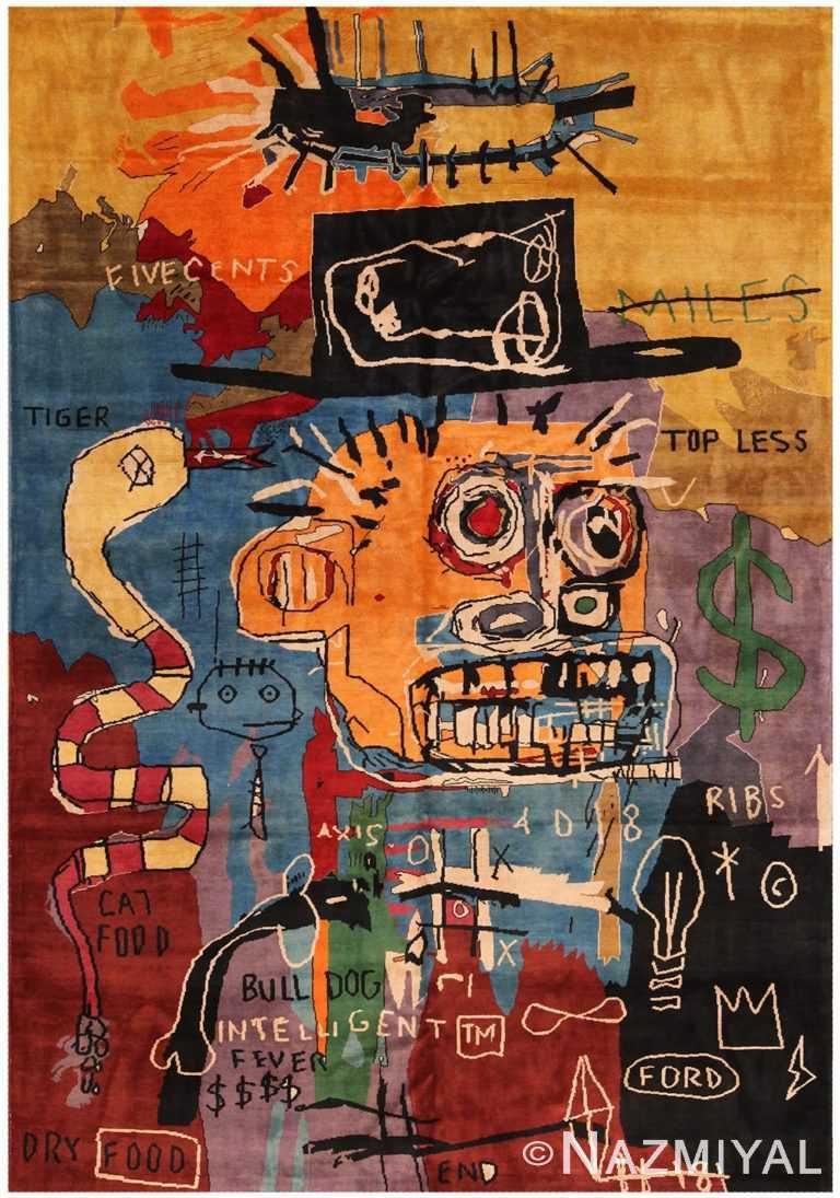Modern Basquiat Inspired Art Rug 70550 by Nazmiyal NYC