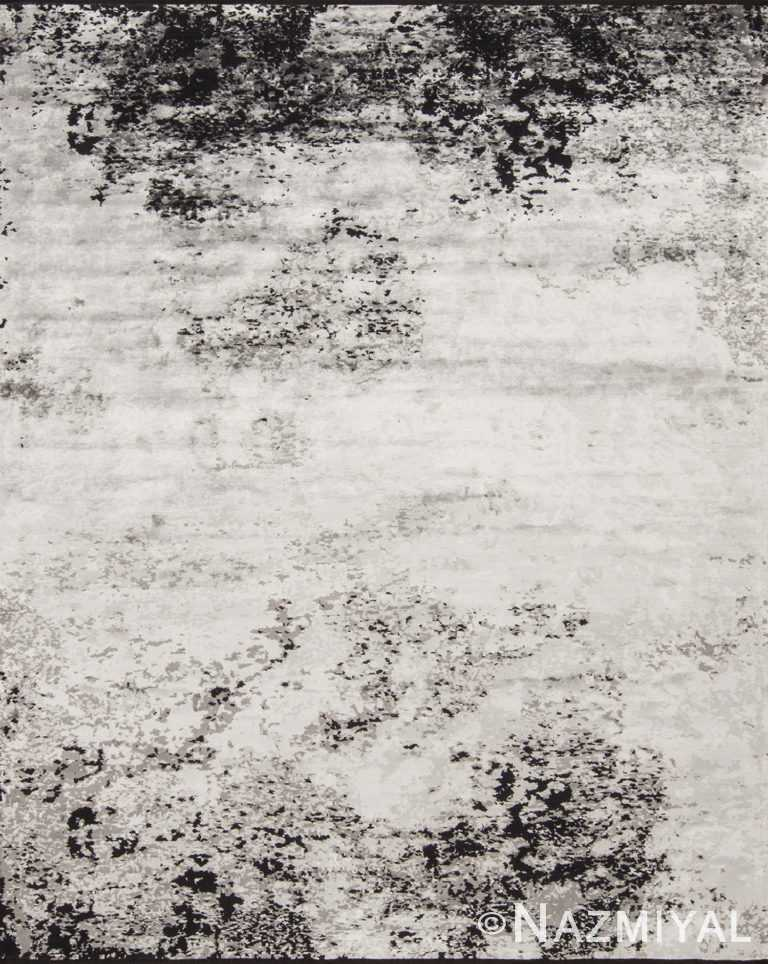 Textured Black And White Rug 95210455 by Nazmiyal NYC
