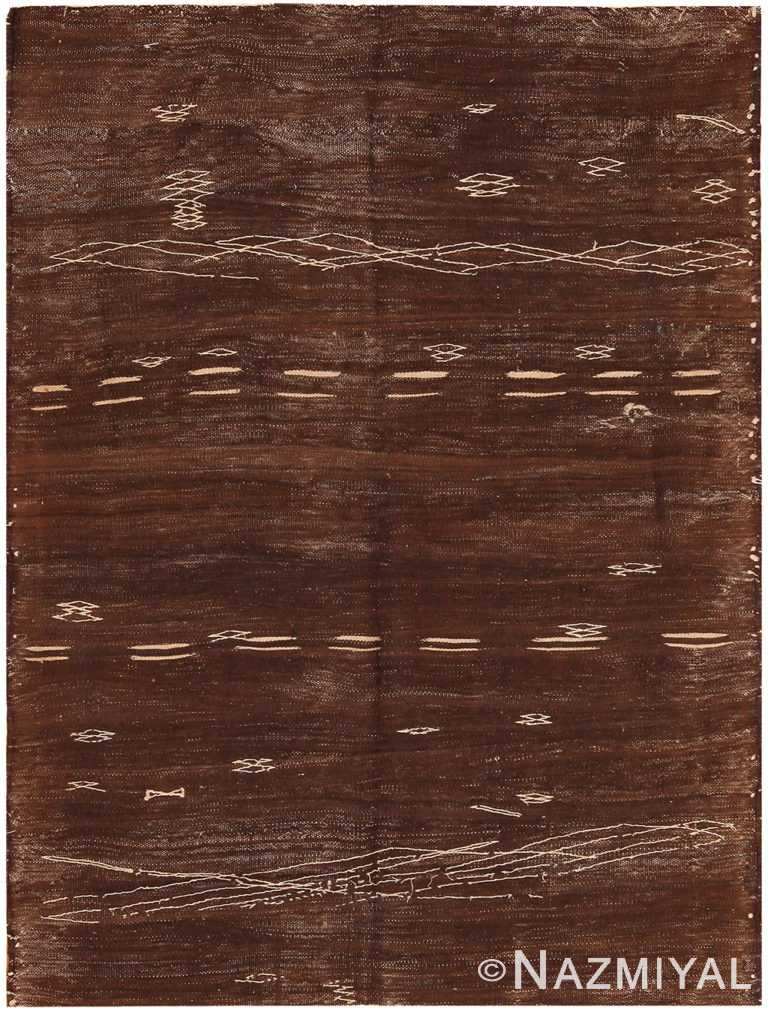 Vintage Moroccan Brown Kilim Rug 70540 by Nazmiyal NYC