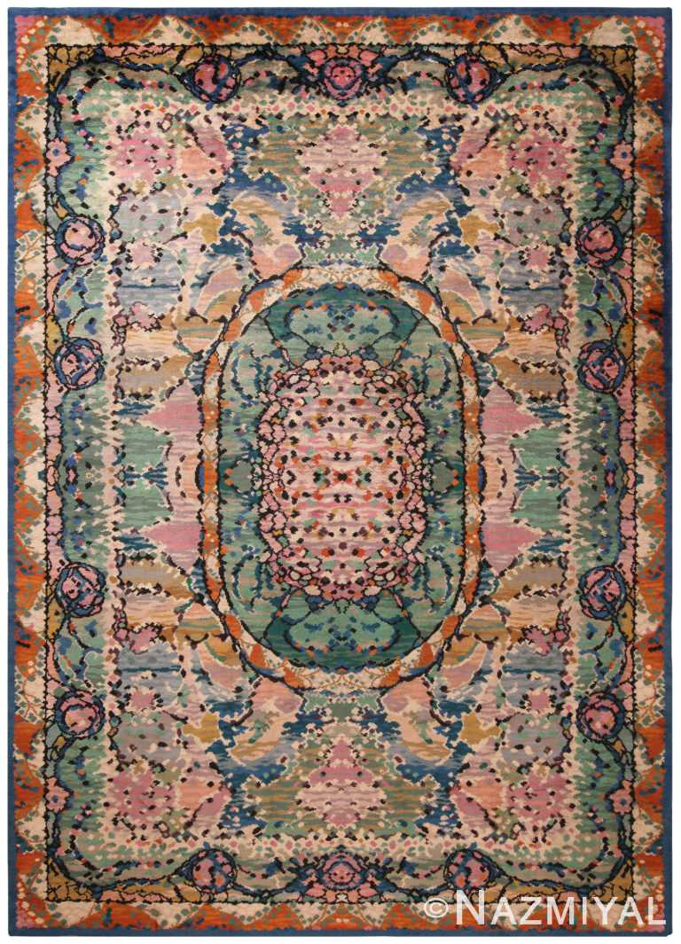 Antique Floral French Deco Rug 70546 by Nazmiyal NYC