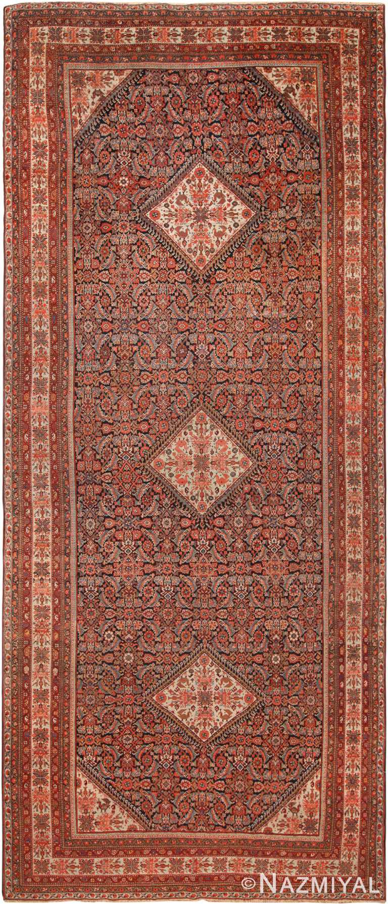 Antique Floral Persian Malayer Runner Rug 70573 by Nazmiyal NYC