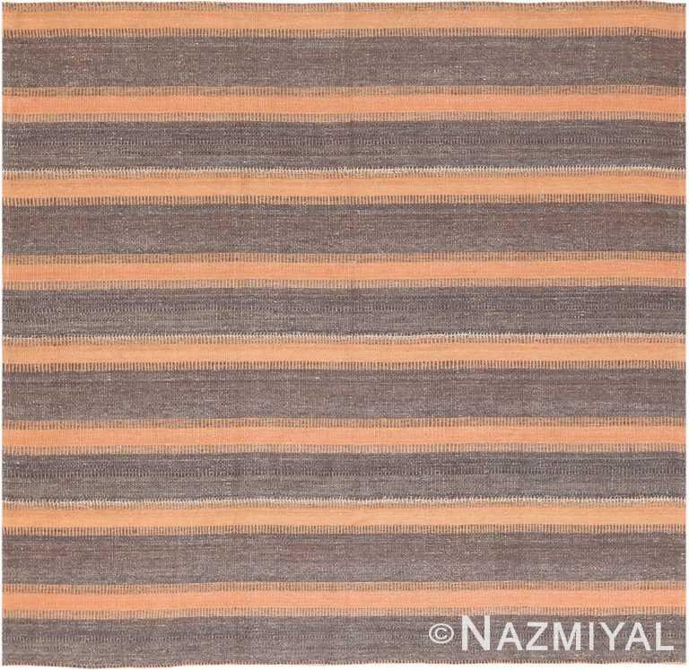 Brown Modern Persian Flat Weave Rug 60101 by Nazmiyal NYC