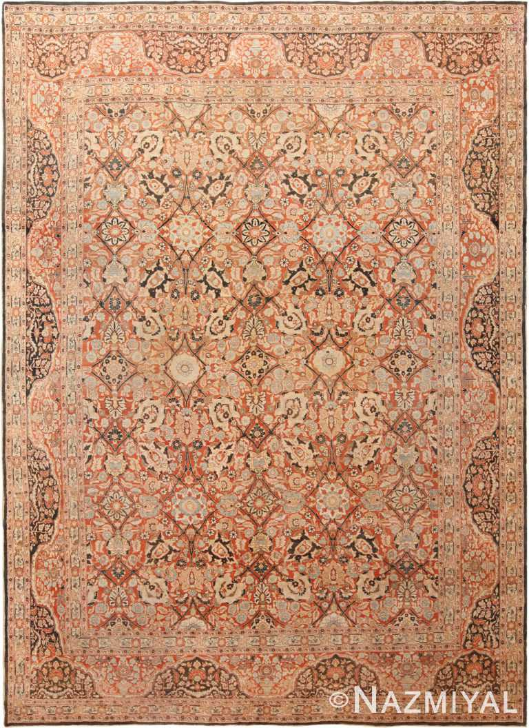 Floral Antique Persian Tabriz Rug 70419 by Nazmiyal NYC