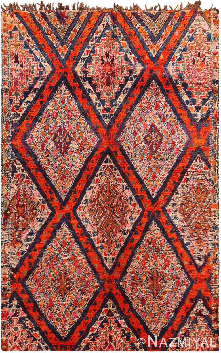 Folk Art Vintage Geometric Moroccan Rug 70560 by Nazmiyal NYC