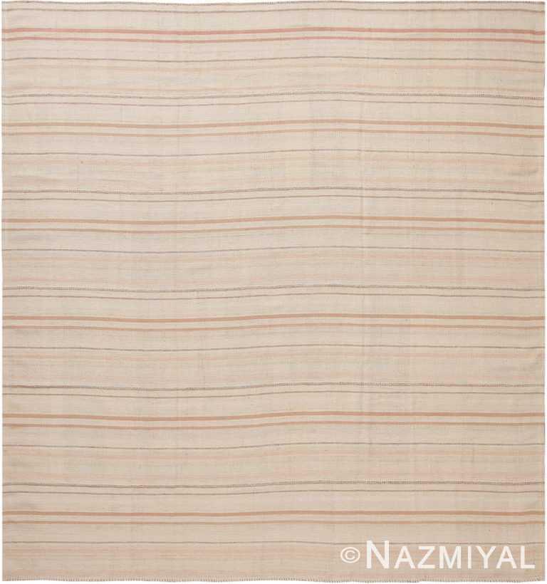 Ivory Modern Persian Flat Weave Rug 60096 by Nazmiyal NYC