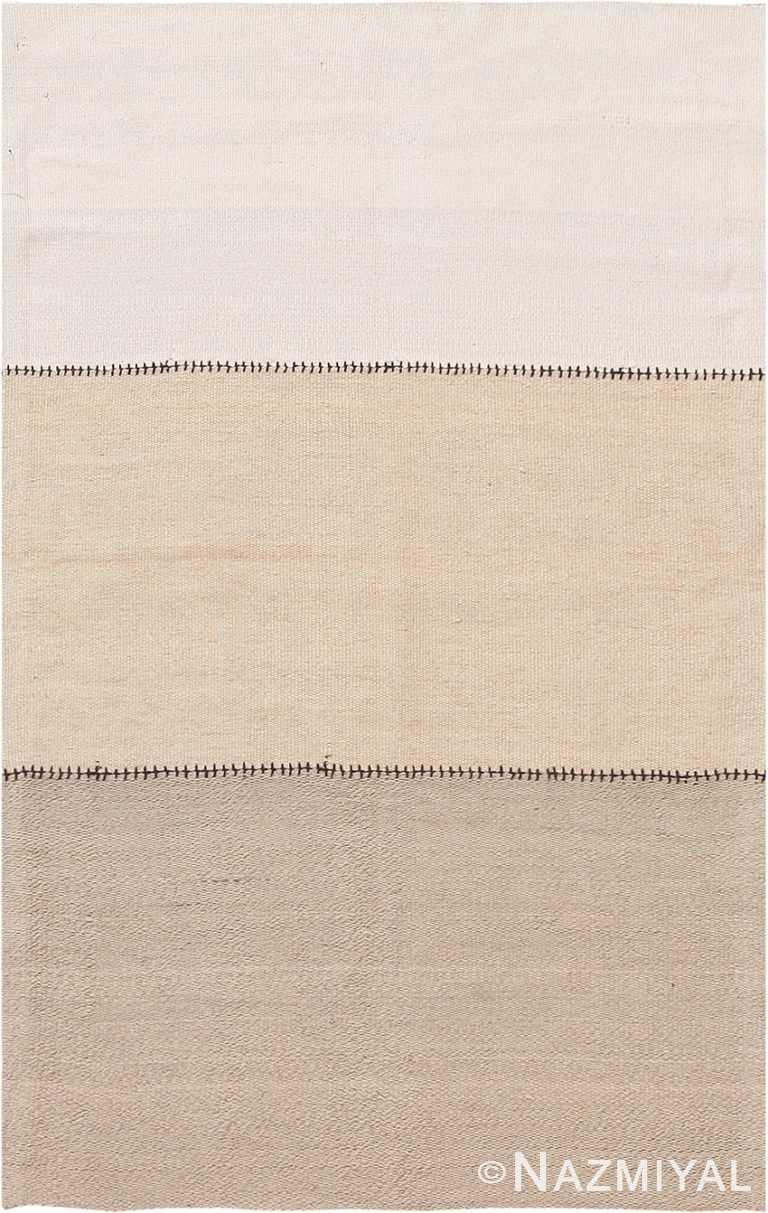 Ivory Soft Modern Persian Flat Weave Rug 60102 by Nazmiyal NYC