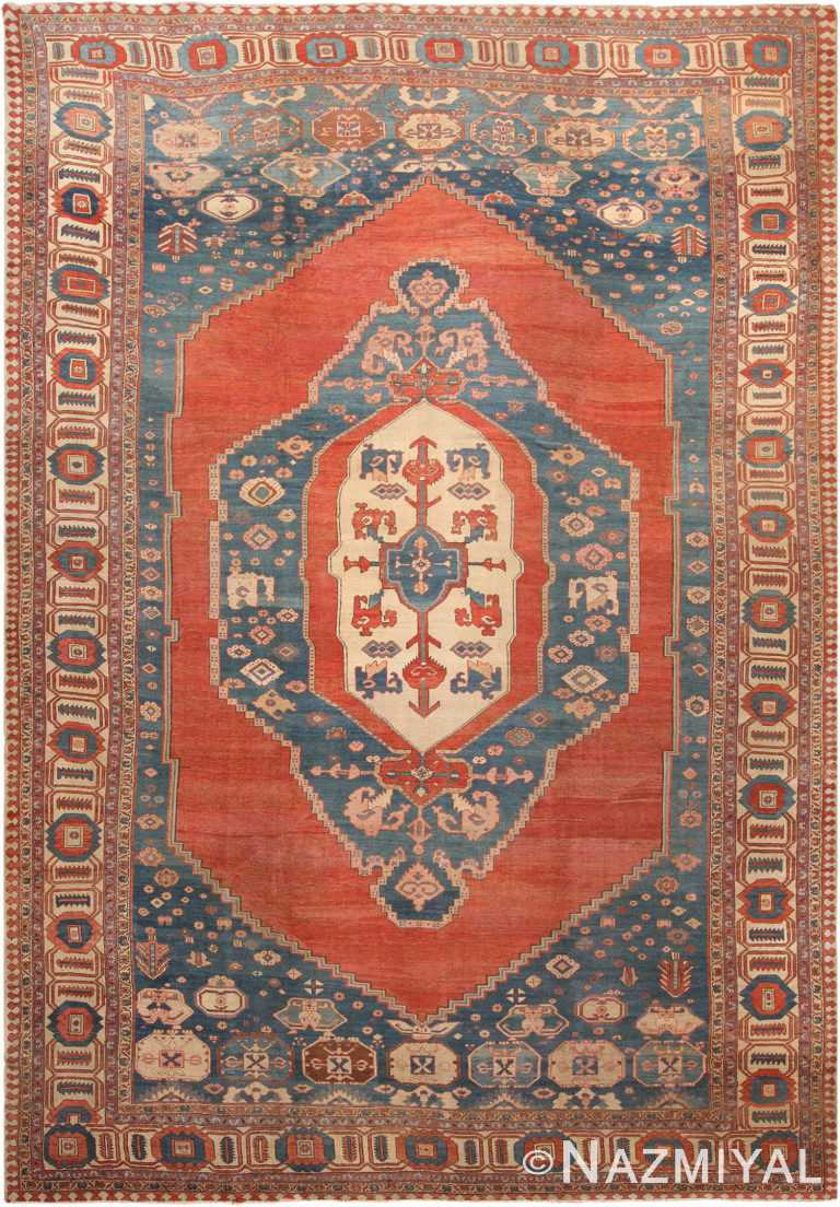 Large Blue Antique Persian Bakshaish Rug 70523 by Nazmiyal NYC
