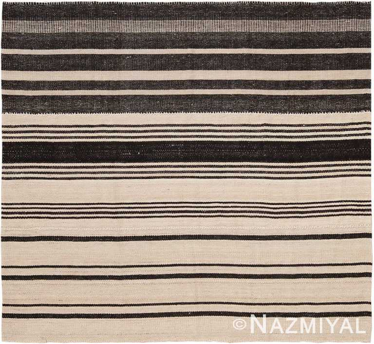 Small Square Flat Woven Modern Persian Black And White Kilim Rug #60082 by Nazmiyal Antique Rugs