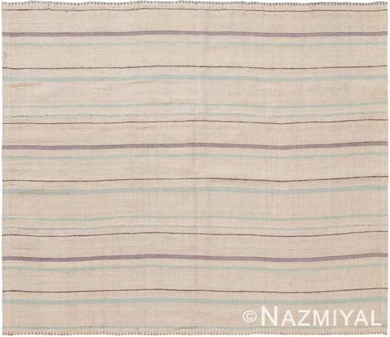 Soft Small Square Size Modern Persian Kilim Rug #60083 by Nazmiyal Antique Rugs
