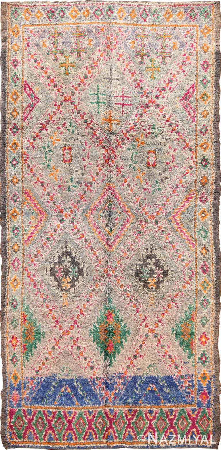 Vintage Folk Art Moroccan Rug 70565 by Nazmiyal NYC