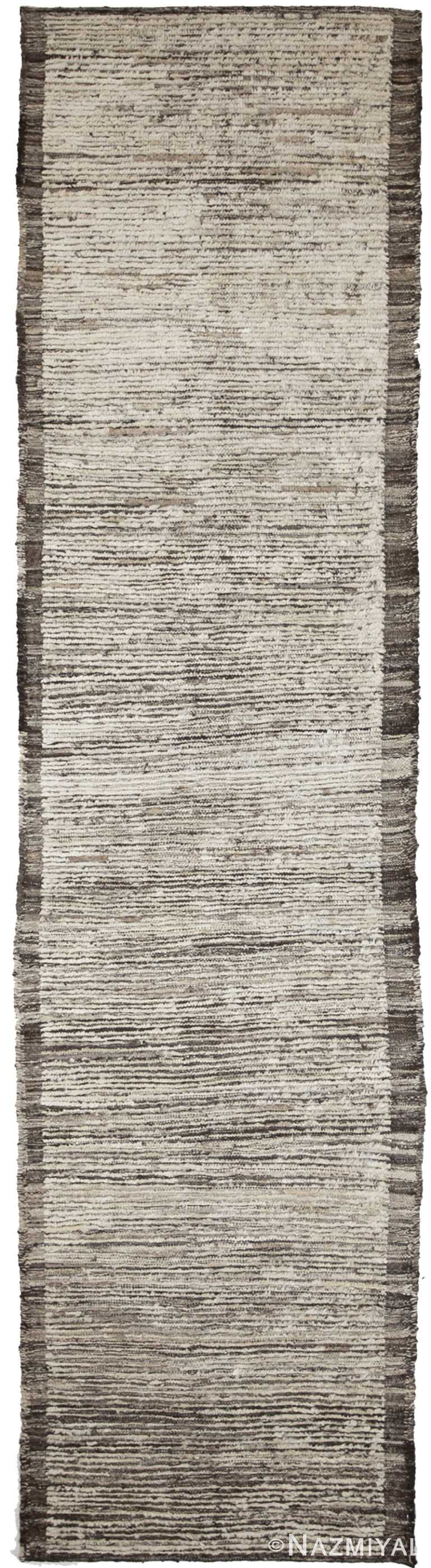Beige and Brown Modern Moroccan Style Afghan Rug 60120 by Nazmiyal NYC