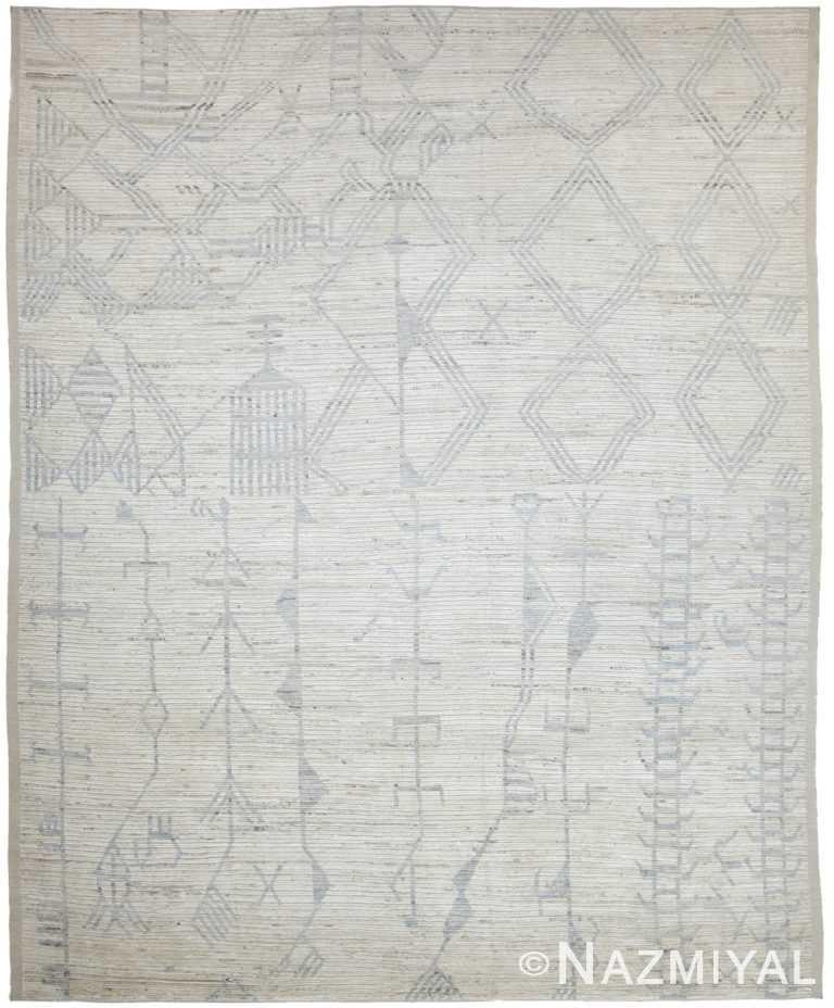 Beige Modern Moroccan Style Afghan Rug 60138 by Nazmiyal NYC