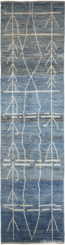 Berber Design Blue Modern Moroccan Style Afghan Runner Rug 60170 by Nazmiyal NYC
