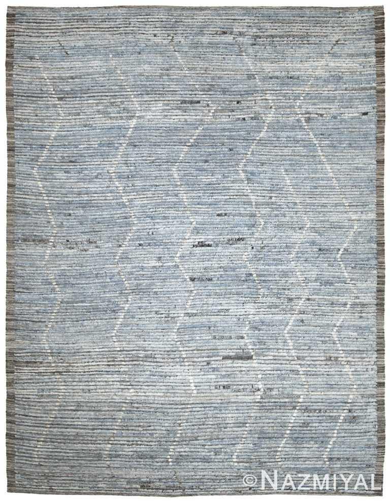 Blue Modern Moroccan Style Afghan Rug 60133 by Nazmiyal NYC