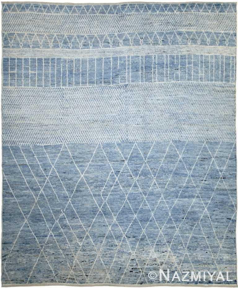 Blue Modern Moroccan Style Afghan Rug 60177 by Nazmiyal NYC