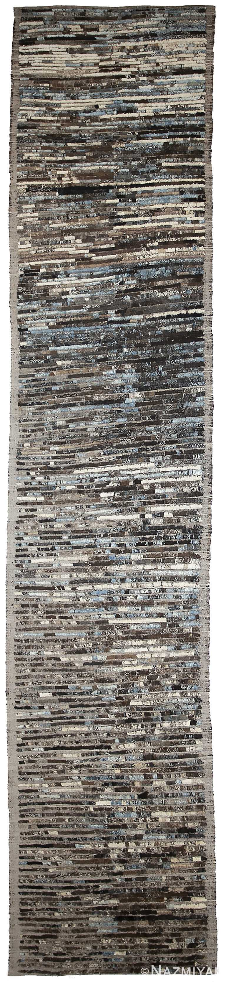 Brown Modern Moroccan Style Afghan Runner Rug 60164 by Nazmiyal NYC