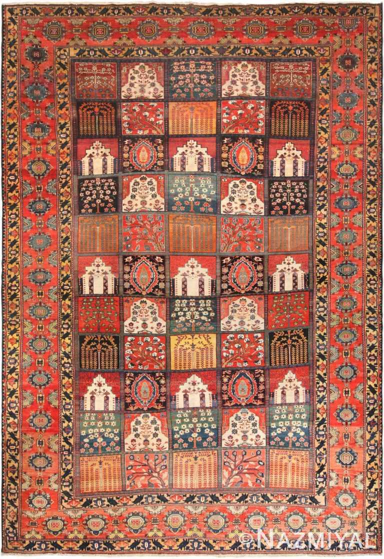 Beautiful Garden Design Antique Persian Bakhtiari Rug 70628 by Nazmiyal NYC
