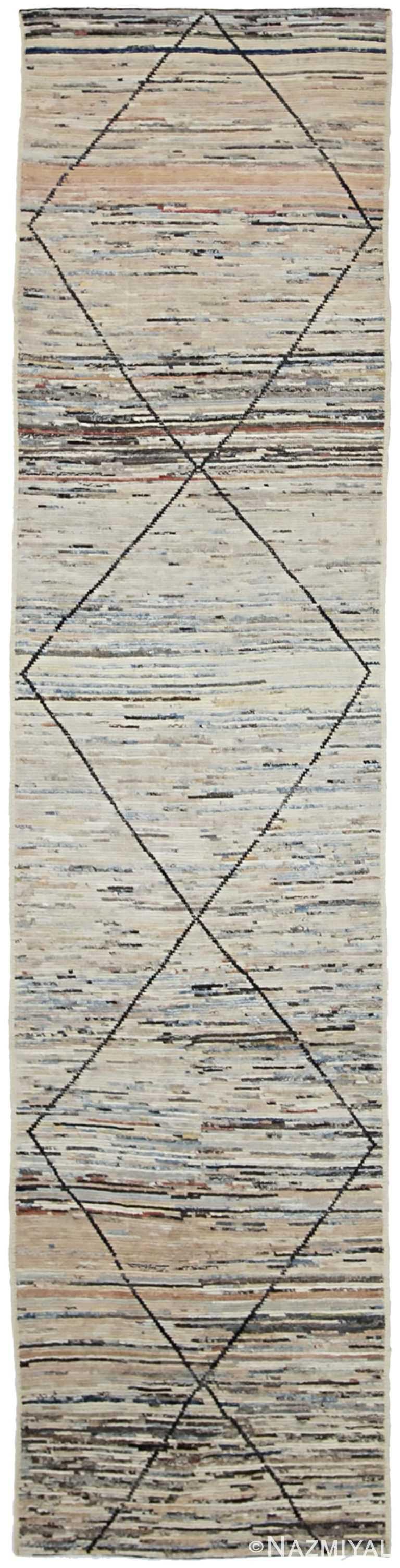 Geometric Beige Modern Moroccan Style Afghan Runner Rug 60152 by Nazmiyal NYC