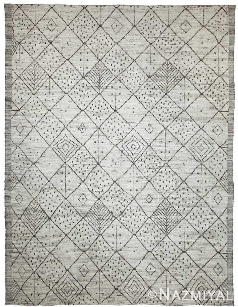 Geometric Light Grey Modern Moroccan Style Afghan Rug 60129 by Nazmiyal NYC