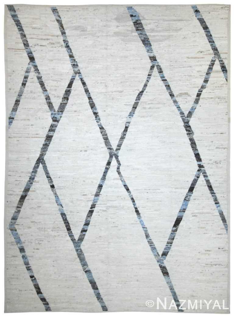 Geometric Ivory Modern Moroccan Style Afghan Rug 60115 by Nazmiyal NYC