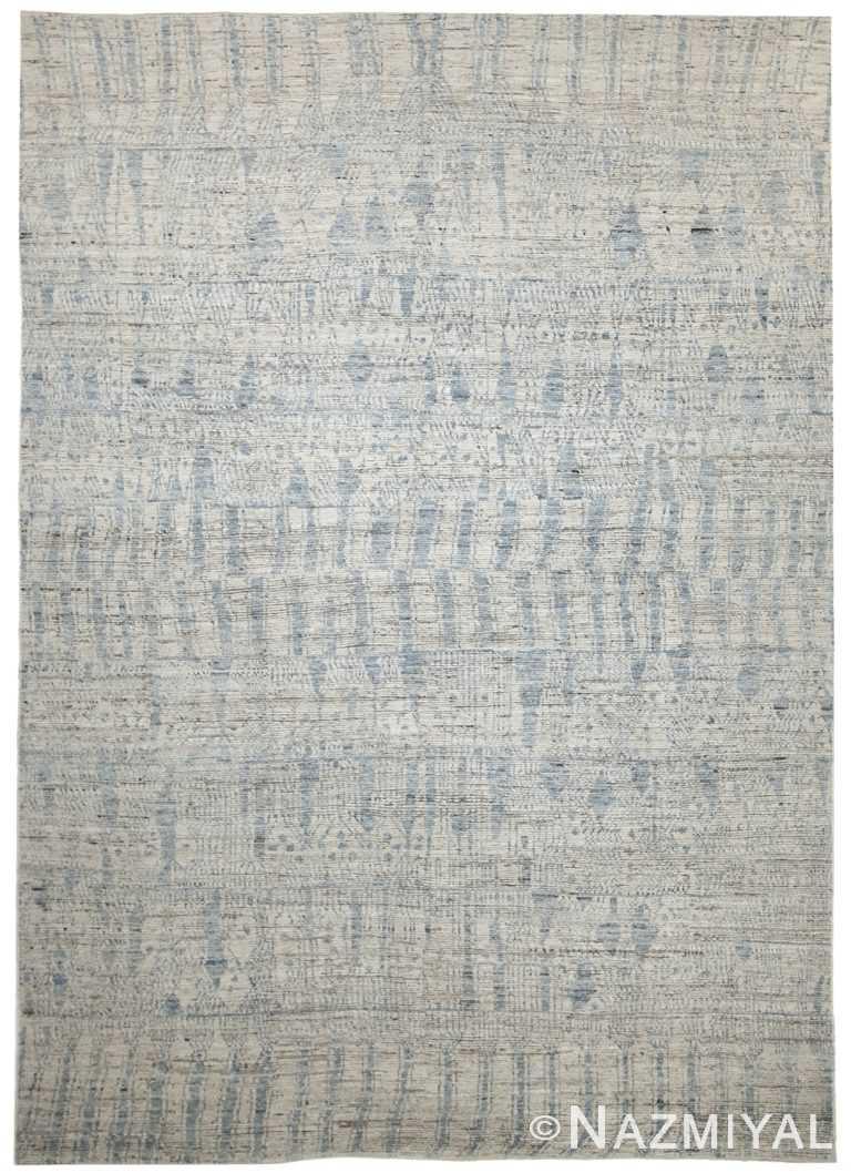Grey Blue Modern Moroccan Style Afghan Rug 60128 by Nazmiyal NYC