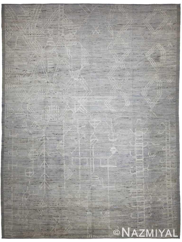 Grey Modern Moroccan Style Afghan Rug 60135 by Nazmiyal NYC