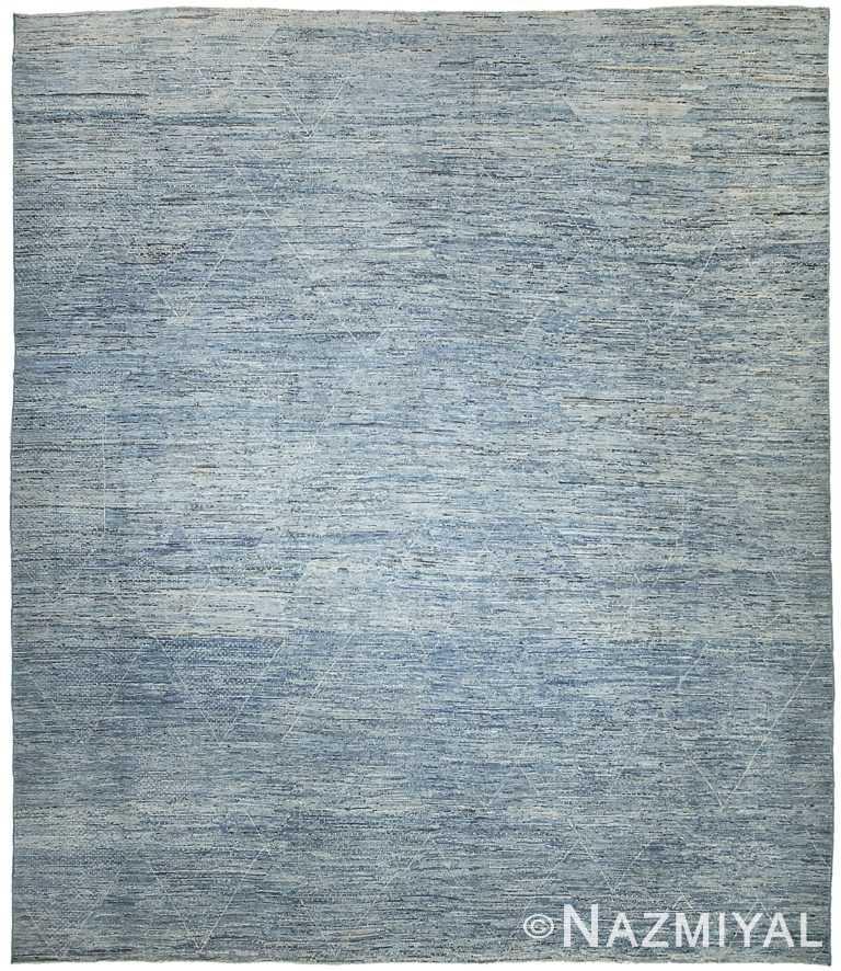 Large Blue Modern Moroccan Style Afghan Rug 60163 by Nazmiyal NYC