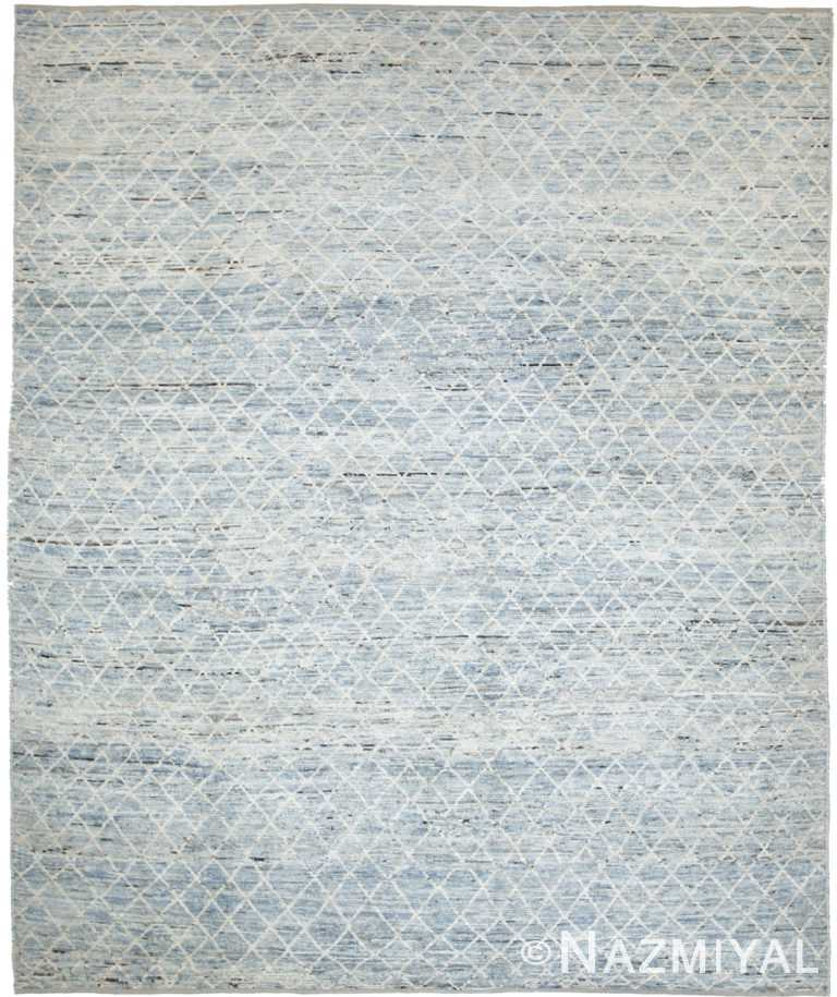 Light Blue Modern Moroccan Style Afghan Rug 60141 by Nazmiyal NYC