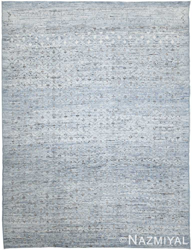 Light Blue Modern Moroccan Style Afghan Rug 60155 by Nazmiyal NYC