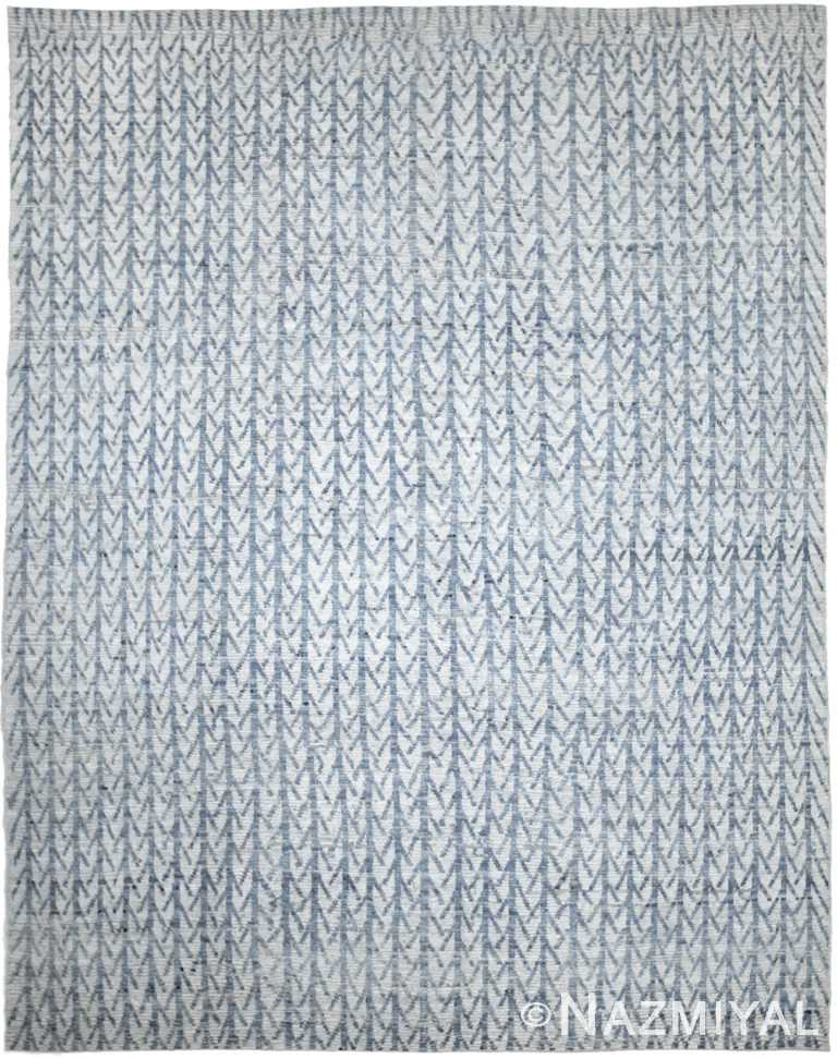 Light Blue Modern Moroccan Style Afghan Rug 60180 by Nazmiyal NYC