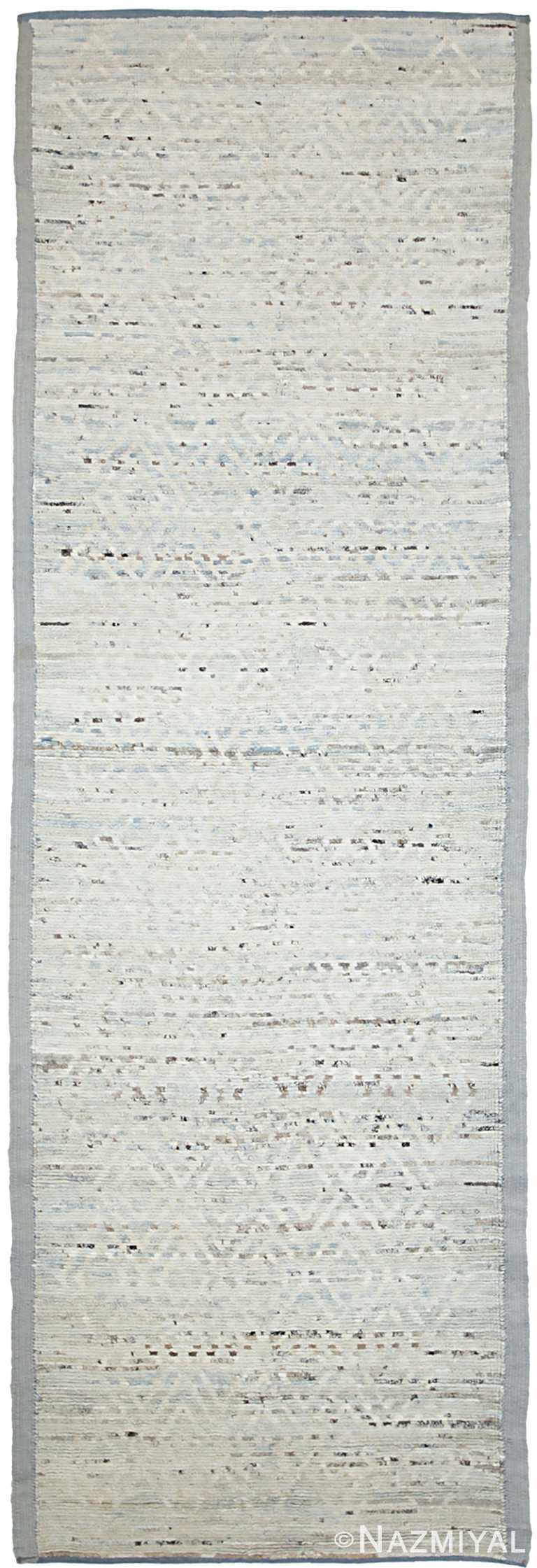 Soft Cream Modern Moroccan Style Afghan Rug 60121 by Nazmiyal NYC