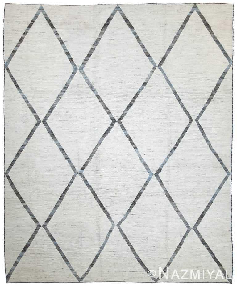 Soft Grey Modern Moroccan Style Afghan Rug 60118 by Nazmiyal NYC
