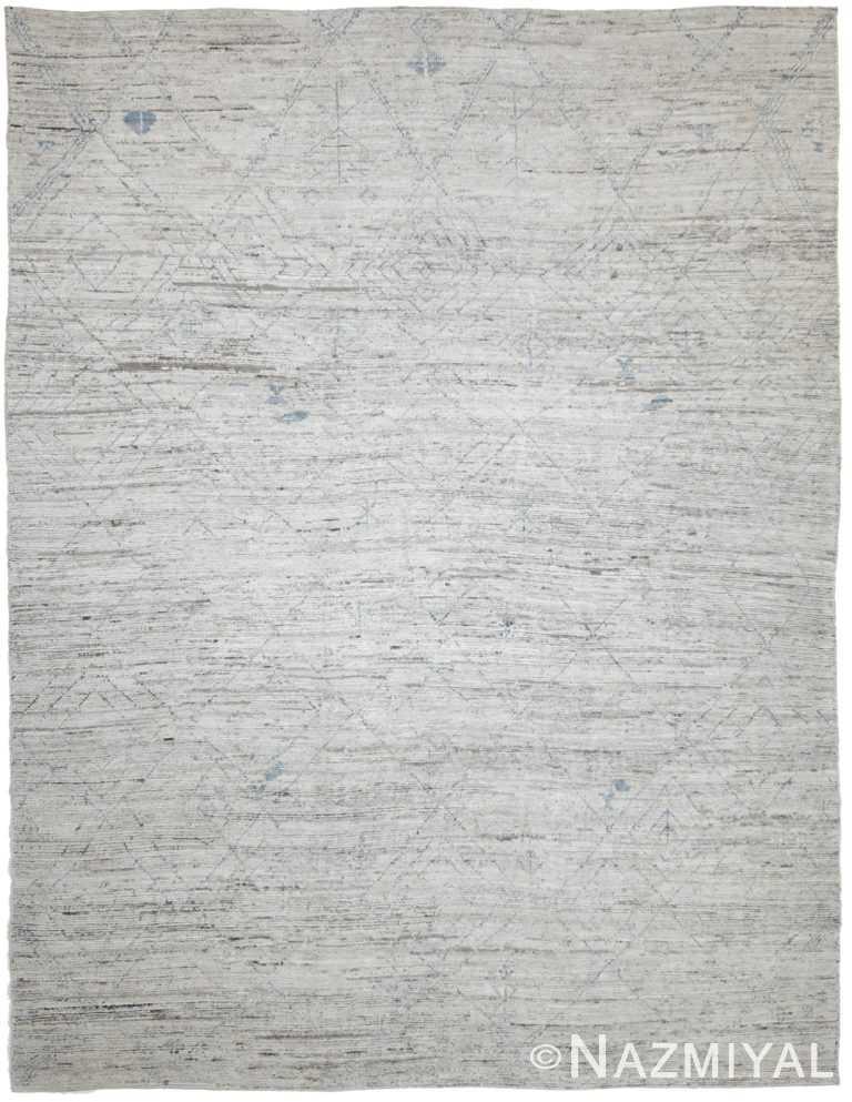 Soft Grey Modern Moroccan Style Afghan Rug 60127 by Nazmiyal NYC