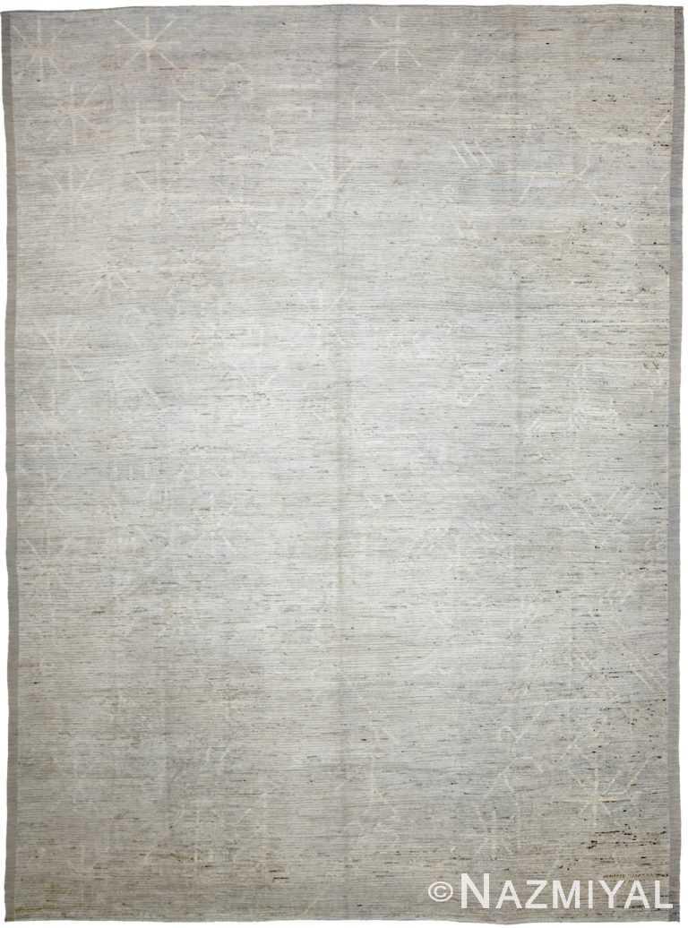 Soft Grey Modern Moroccan Style Afghan Rug 60136 by Nazmiyal NYC