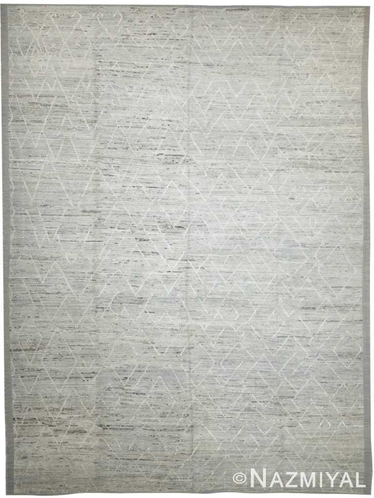Soft Grey Modern Moroccan Style Afghan Rug 60139 by Nazmiyal NYC