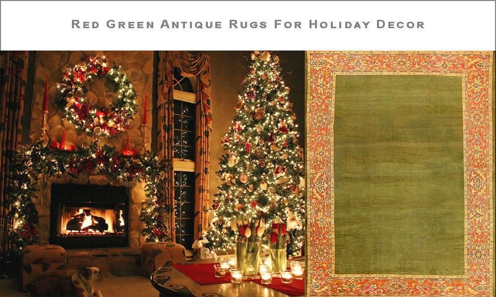 Red Green Antique Rugs Holiday Decor by Nazmiyal Antique Rugs